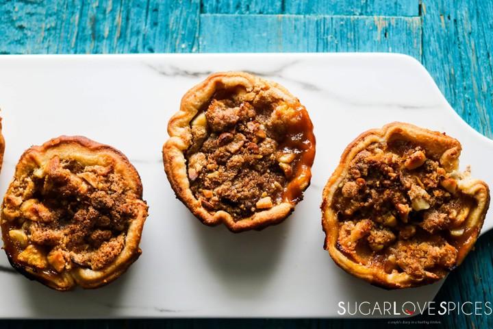 Petite Peach Ginger Streusel Pies-closeup