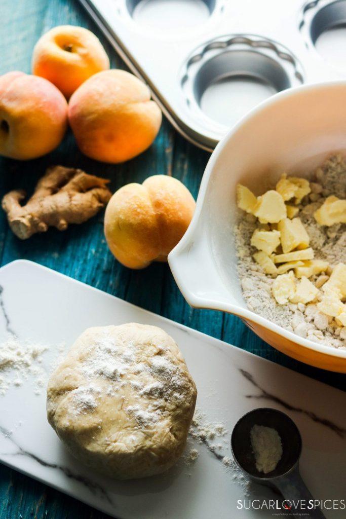 Petite Peach Ginger Streusel Pies-dough-peaches-streusel