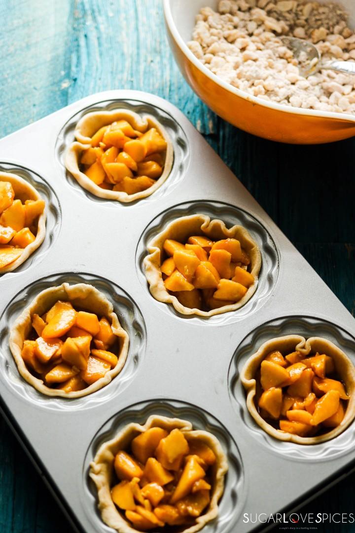 Petite Peach Ginger Streusel Pies-in the pan-filling