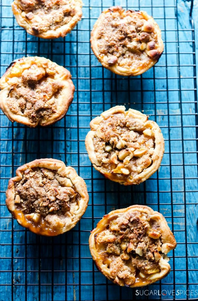 Petite Peach Ginger Streusel Pies-on the rack-vertical