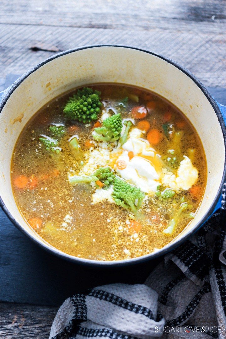 Romanesco broccoli soup-feature-broth and veggies in the pot