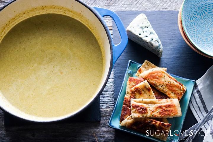 Romanesco broccoli soup-feature-pot and pita