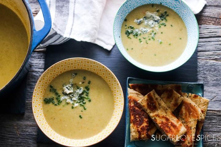 Romanesco broccoli soup-feature-two bowls and pita