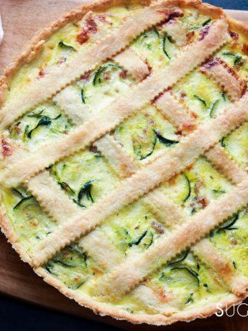Savory Crostata with zucchini and prosciutto-feature-whole on board