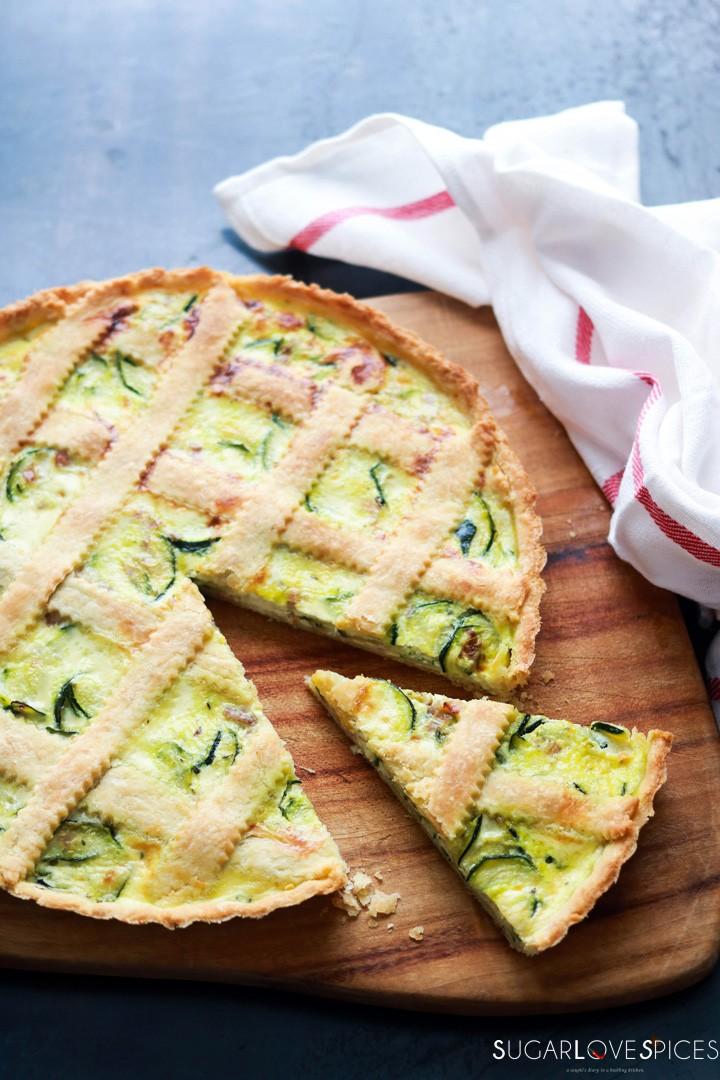 Savory Crostata with zucchini and prosciutto-on board-slice