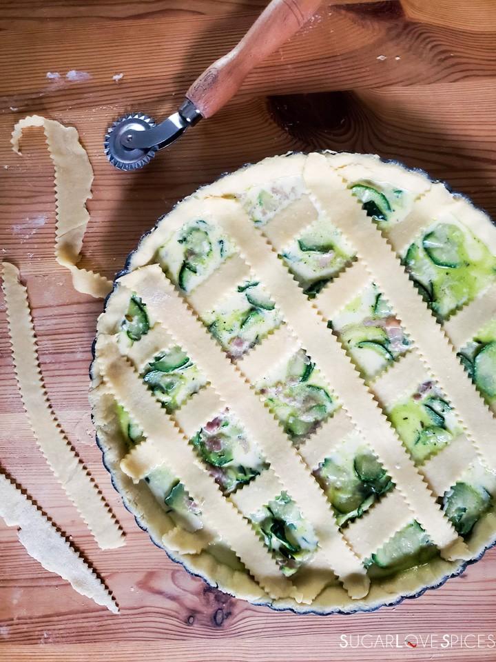 Savory Crostata with zucchini and prosciutto-prep-lattice on crostata