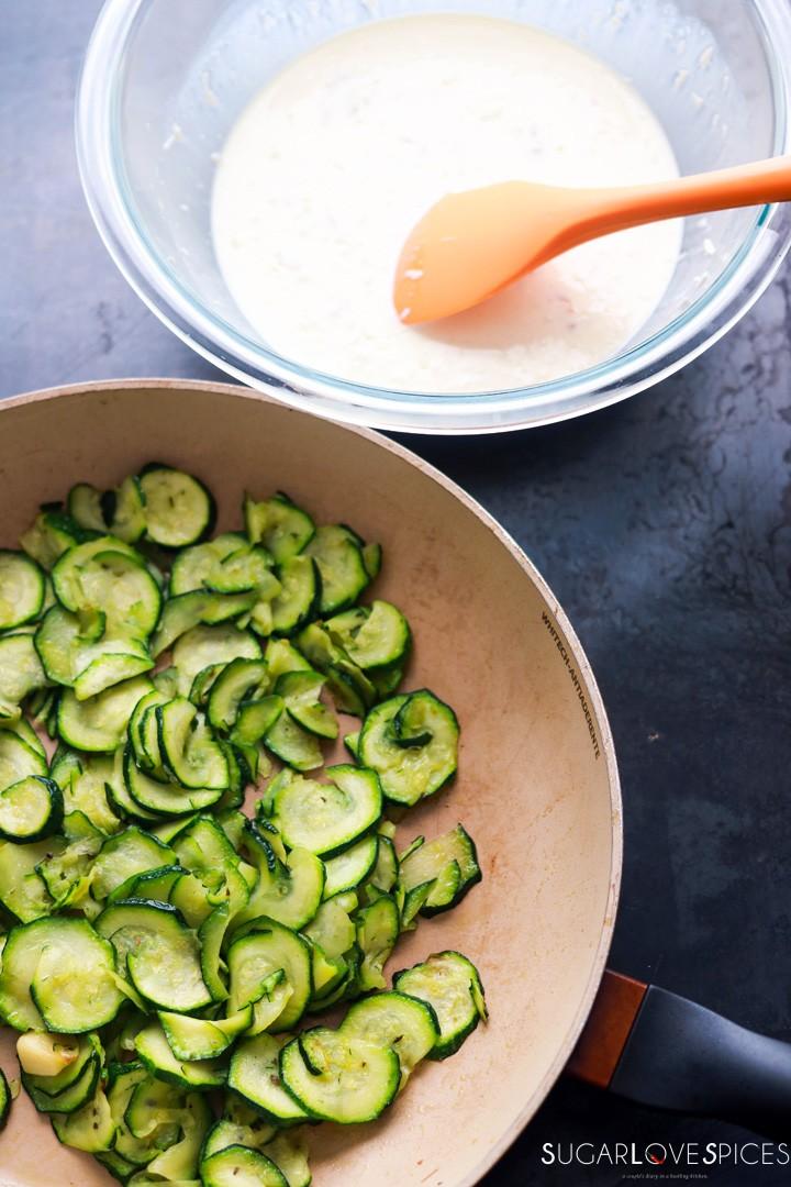 Savory Crostata with zucchini and prosciutto-prep-zucchini-filling