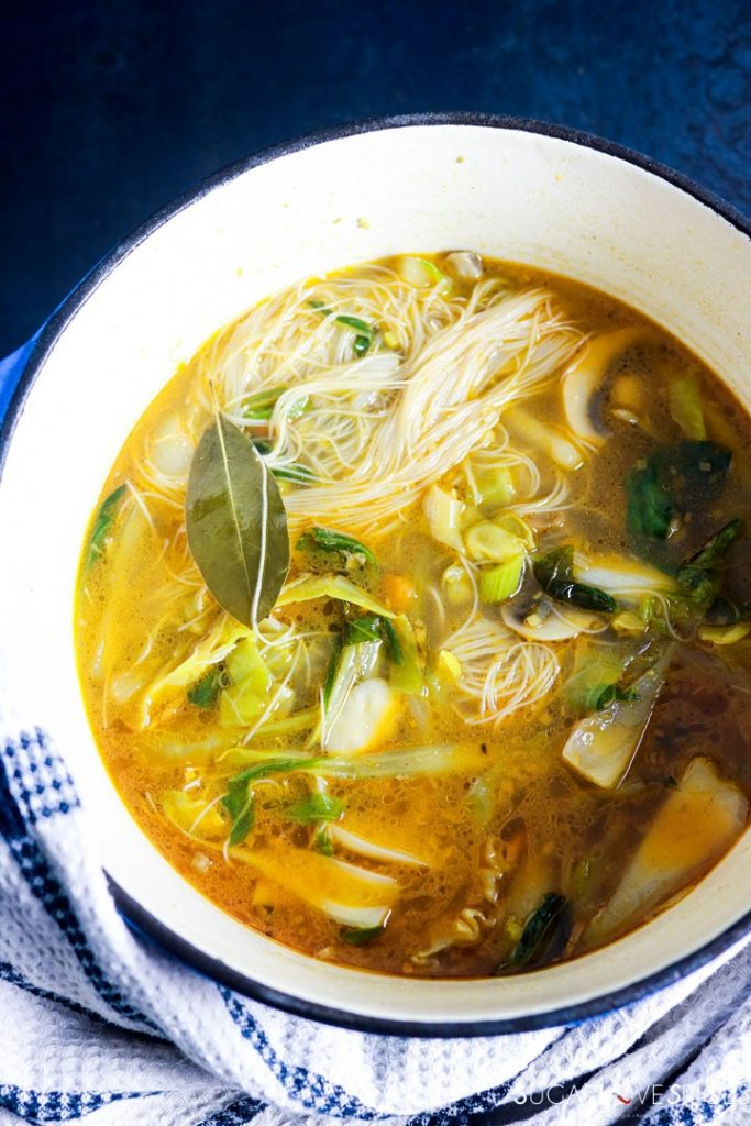Asian inspired brown rice vermicelli noodle soup-big pot of soup