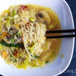 Asian inspired brown rice vermicelli noodle soup-feature-close bowl with chopsticks