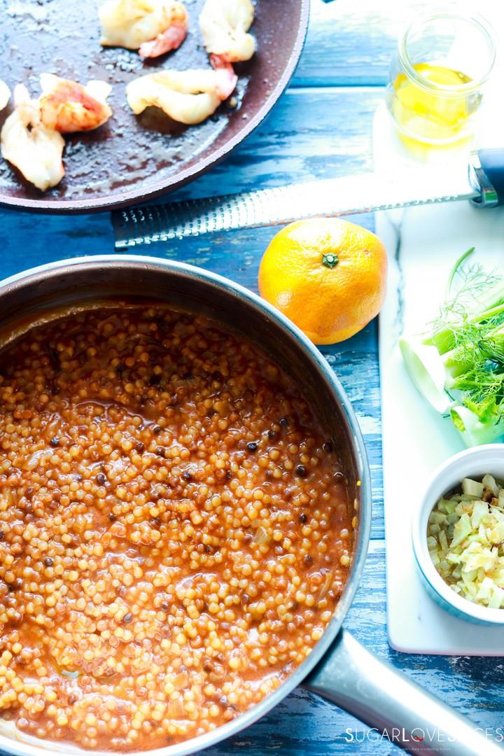 Fregola Sarda with Scampi and Fennel-prep-cooking fregola