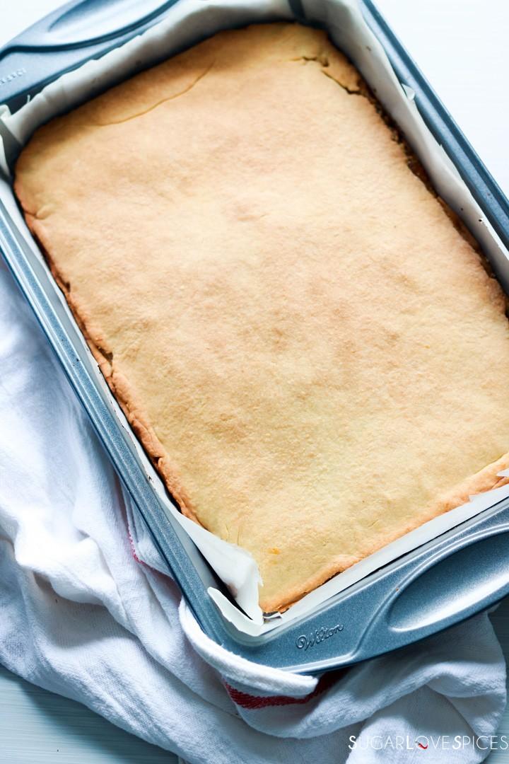 Hungarian Gerbeaud cake-baked cake in the pan