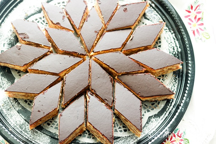 Hungarian Gerbeaud cake-cake on a serving plate-top view