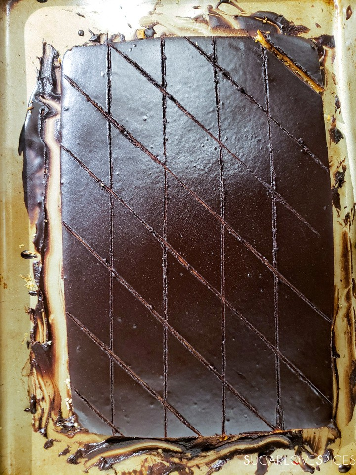 Hungarian Gerbeaud cake-diamond pattern on top
