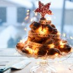 Profiterole Christmas Tree-feature-christmas profiterole in front of a window with star on