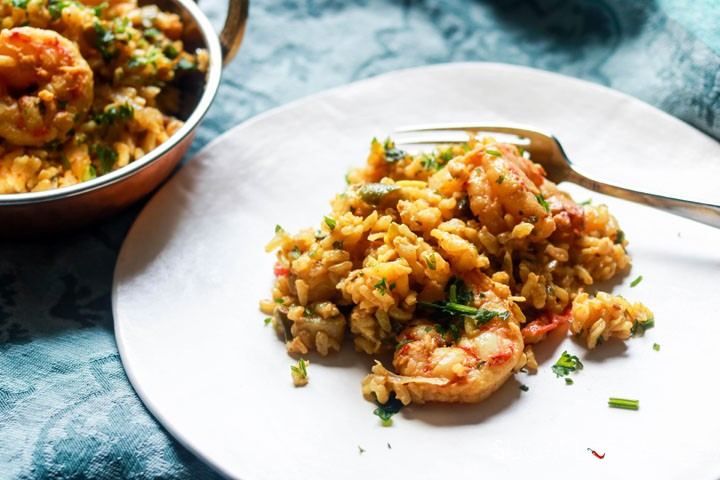 Shrimp Biryani-plated with fork
