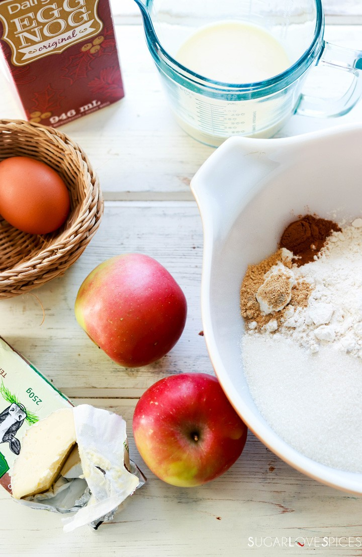 Spiced Apple Eggnog Scones-ingredients on a board