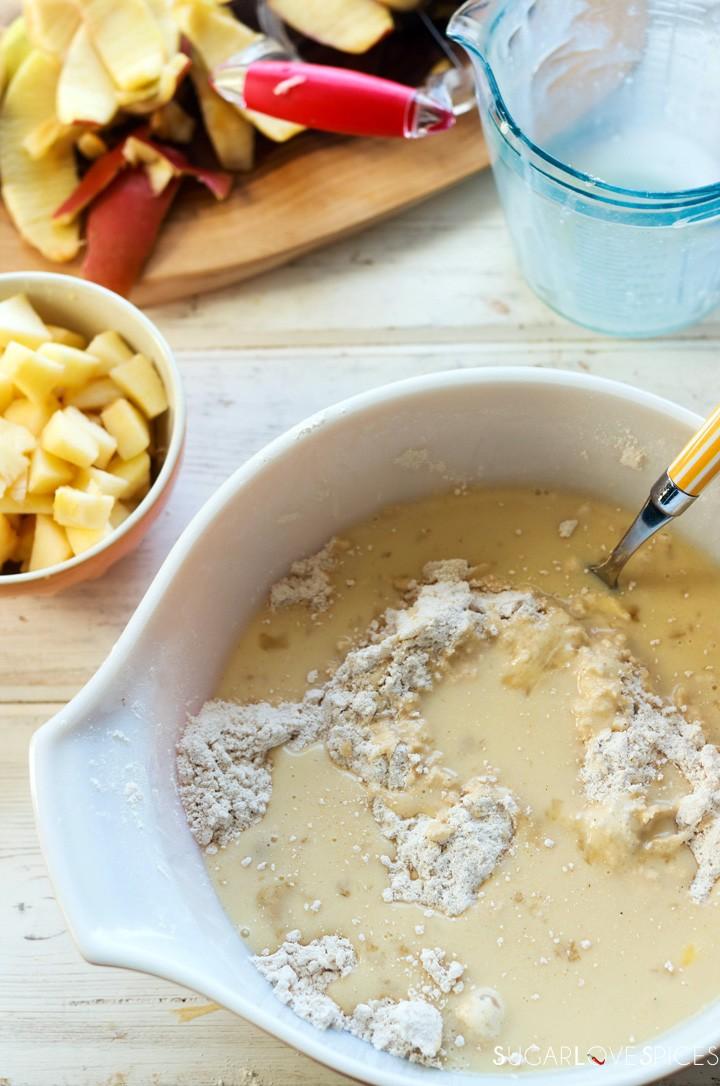 Spiced Apple Eggnog Scones-prep-adding wet ingredients