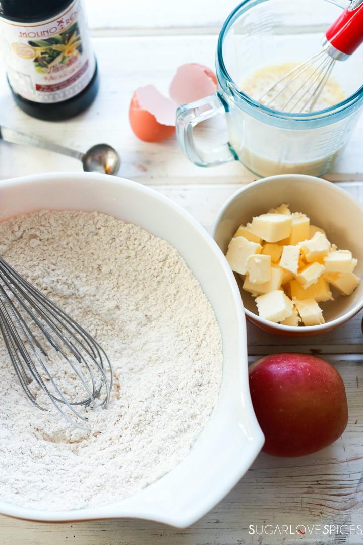 Spiced Apple Eggnog Scones-prep mixing dry ingredients in bowl