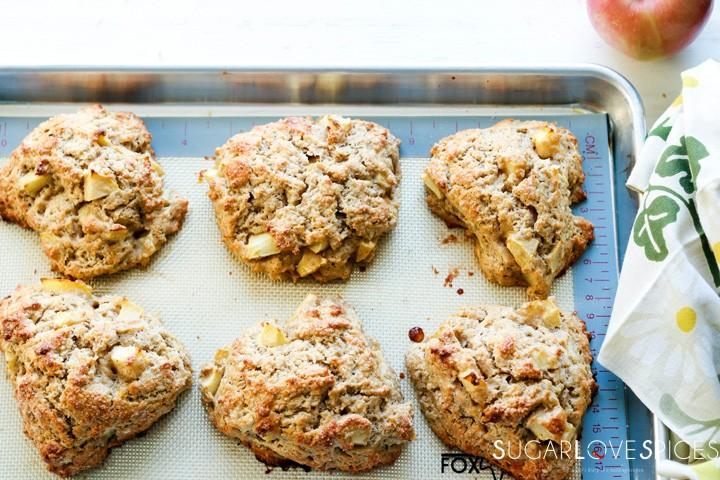 Spiced Apple Eggnog Scones-scones on baking sheet