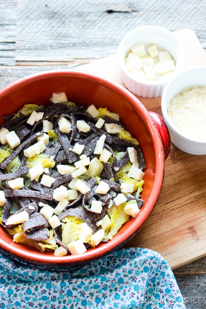 Buckwheat Pasta with Cabbage and Potatoes (Pizzoccheri)-prep-first layer of pasta in the pot