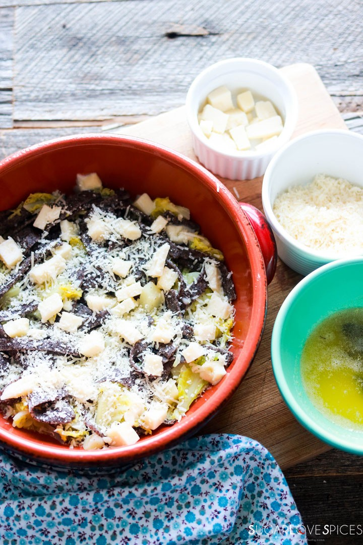 Buckwheat Pasta with Cabbage and Potatoes (Pizzoccheri)-prep-topping first layer with cheese