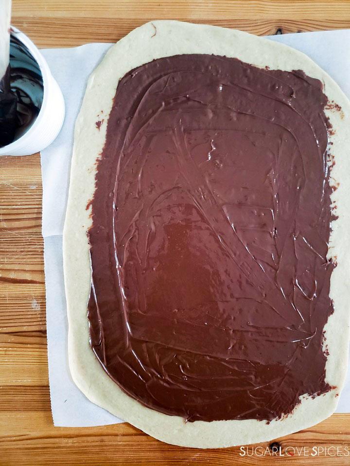 Nutella Pain Brioche Braid-nutella on the dough