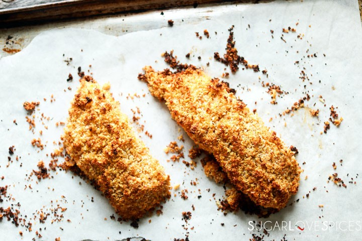 Sweet Chili Panko-crusted Salmon-out of the oven
