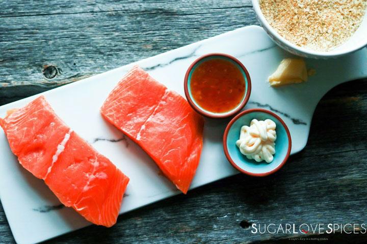 Sweet Chili Panko-crusted Salmon-prep-raw salmon on a marble board