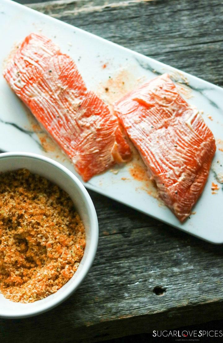 Sweet Chili Panko-crusted Salmon-prep-rubbing marinade-panko on the side