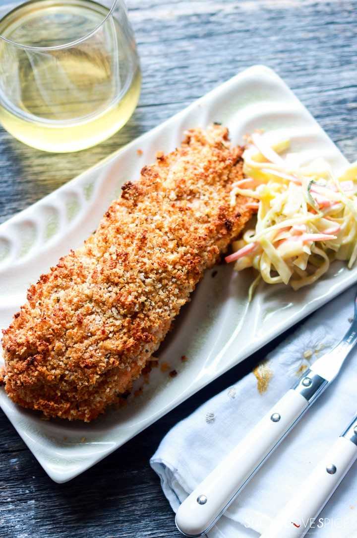 Sweet Chili Panko-crusted Salmon-slice on a plate with slaw