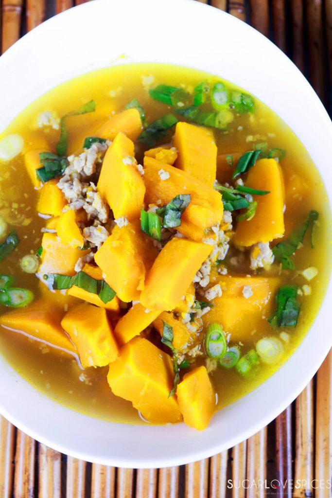 Vietnamese Kabocha Squash Soup-bowl-side view-green onion on top