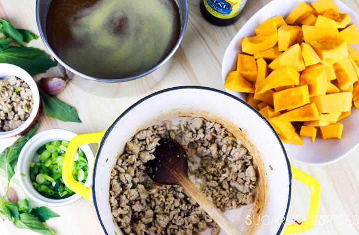 Vietnamese Kabocha Squash Soup-prep-sauteing meat