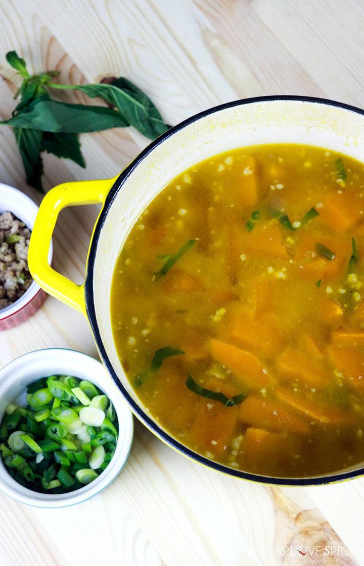 Vietnamese Kabocha Squash Soup-prep-squash in the pot-cooked