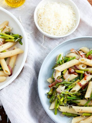 Easy Spring Penne with Asparagus and Guanciale-two plates-top view