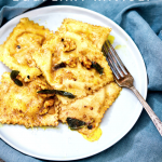 Indian-spiced Eggplant Ravioli-in the plate
