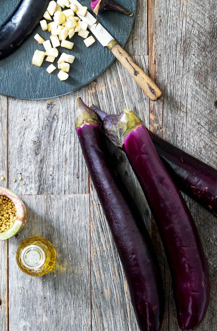Indian spiced eggplant ravioli-eggplants on the board