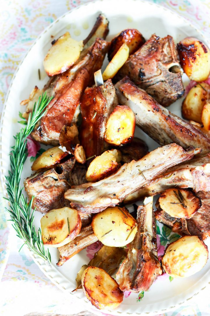 Excellent Roasted Lamb and Potatoes, Roman-style-in the platter-closeup