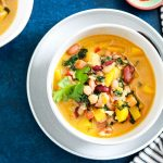 One pot Easy Curried Squash and Bean Stew-feature-two bowls-napkin