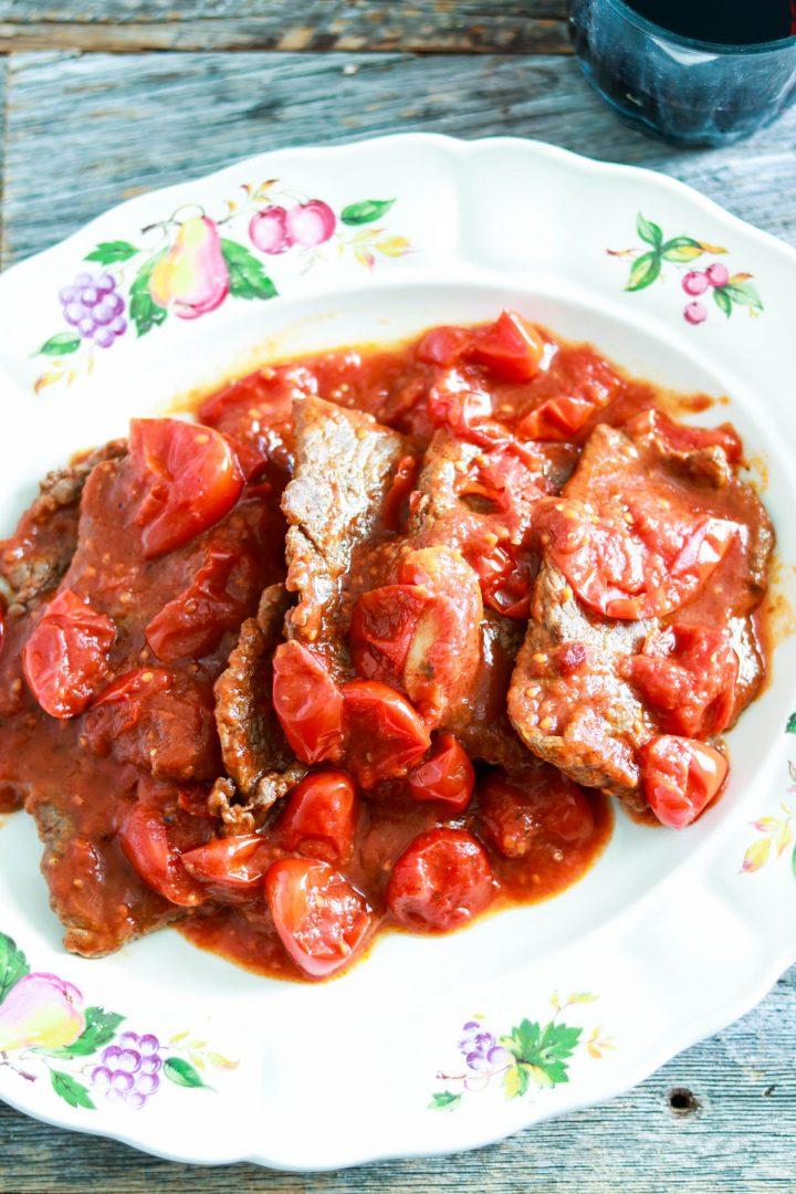 Easy and Delicious Mamma's Fettine alla Pizzaiola-in the plate-top view