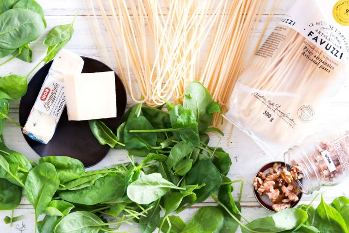 Quick 30-minute Spaghetti with Spinach Gorgonzola and Walnuts-mise en place