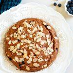 Healthy Low fat Blueberry Lemon Cake-whole cake on platter