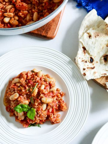 One pot Italian Farro with beans and tomatoes-feature-one plate-bread on the side