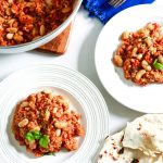 One pot Italian Farro with beans and tomatoes-two plated