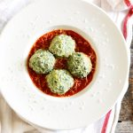 Tuscan Kale and Ricotta Gnudi in Tomato sauce-feature-plated-closeup