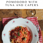Bucatini al Pomodoro with tuna and capers-text on pinterest